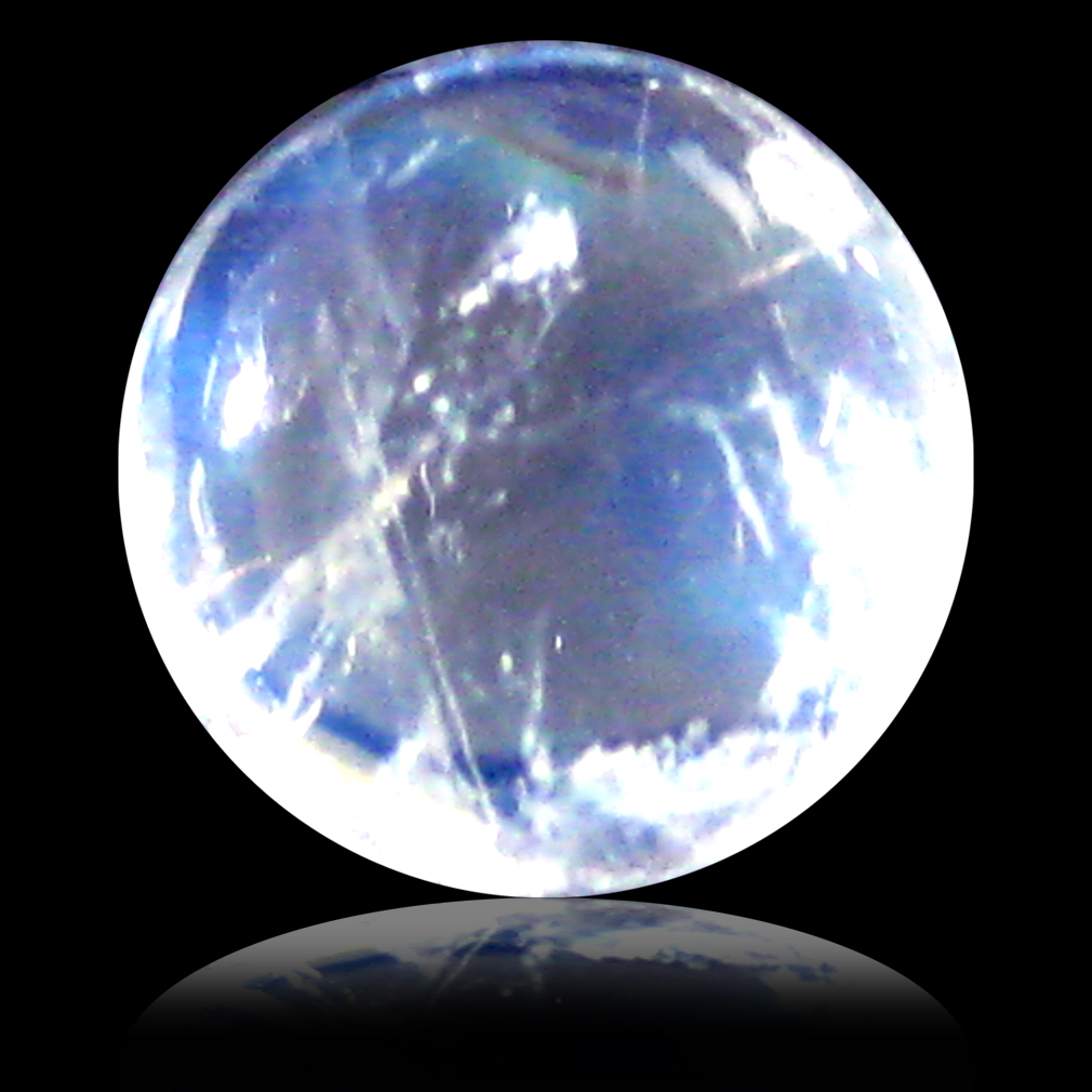 1.28 ct AAA Elegant Round Cabochon Shape (7 x 7 mm) Rainbow Blue Moonstone Natural Gemstone
