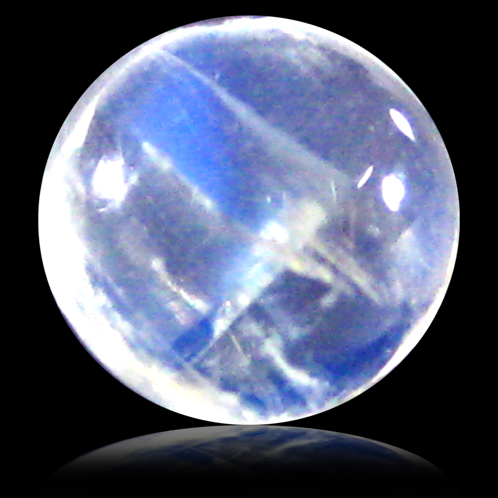 1.78 ct AAA Attractive Round Cabochon Shape (7 x 7 mm) Rainbow Blue Moonstone Natural Gemstone