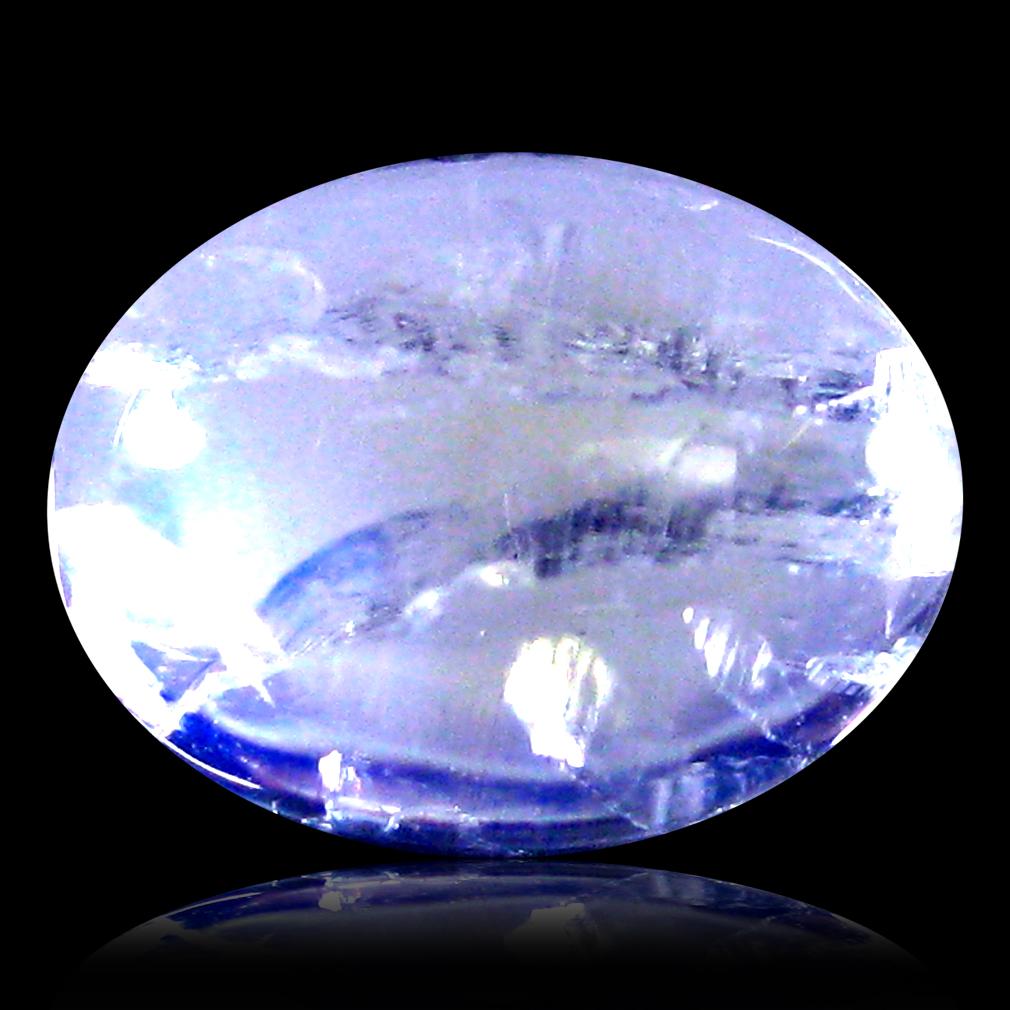 1.54 ct AAA Topnotch Oval Cabochon Shape (8 x 6 mm) Rainbow Blue Moonstone Natural Gemstone