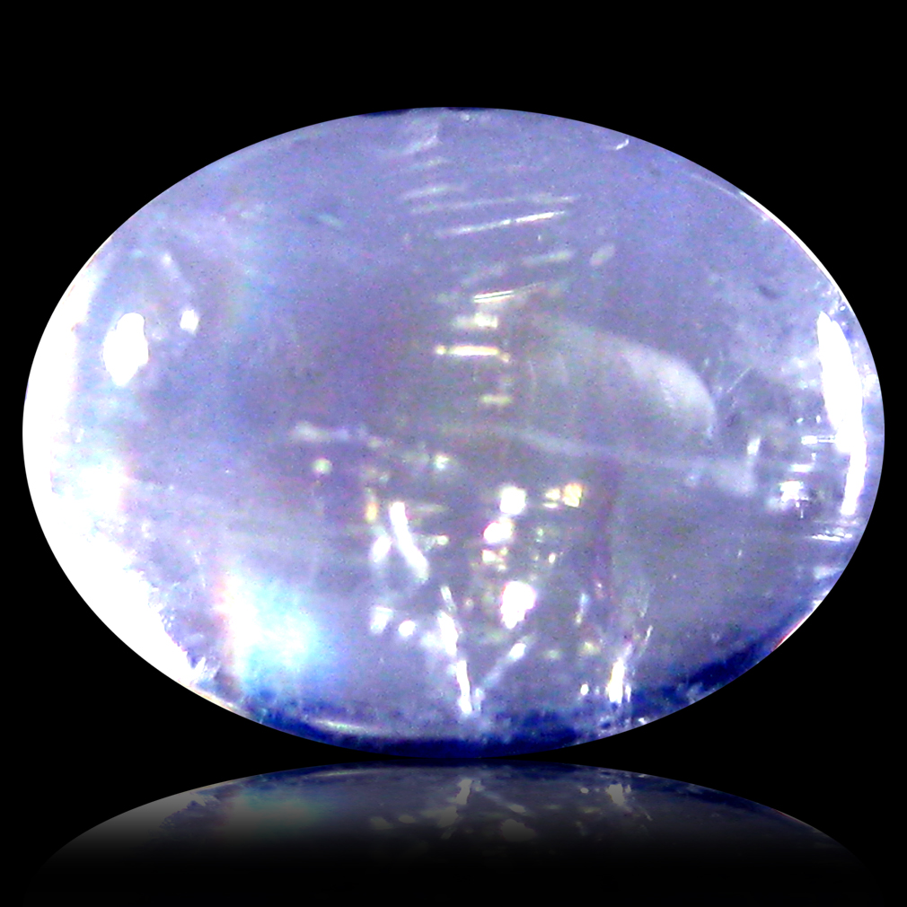 1.21 ct AAA Astonishing Oval Cabochon Shape (8 x 6 mm) Rainbow Blue Moonstone Natural Gemstone