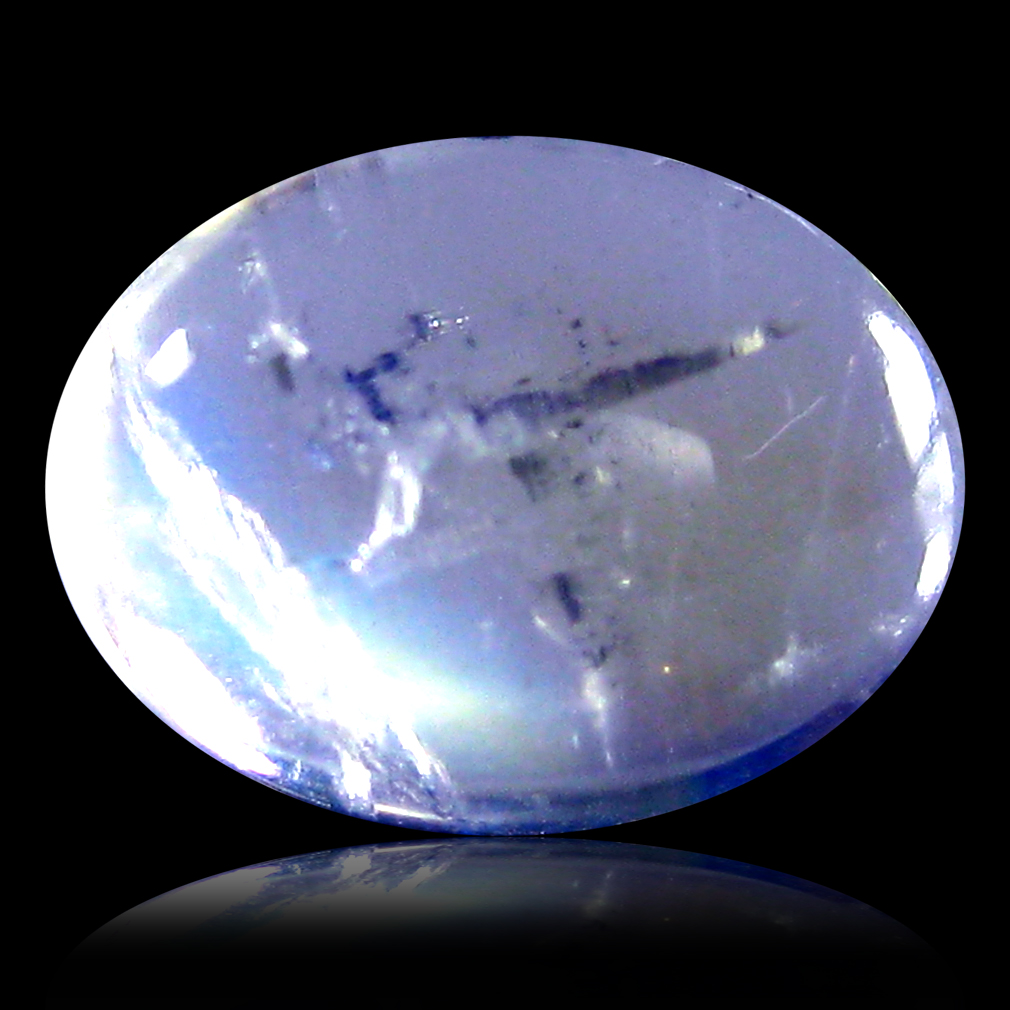 1.24 ct AAA Superb Oval Cabochon Shape (8 x 6 mm) Rainbow Blue Moonstone Natural Gemstone