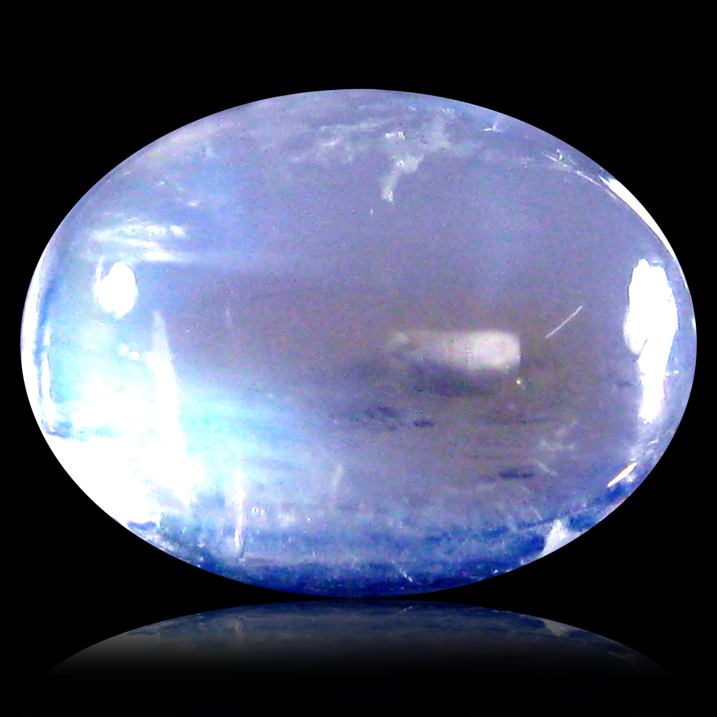 1.35 ct AAA Eye-popping Oval Cabochon Shape (8 x 6 mm) Rainbow Blue Moonstone Natural Gemstone