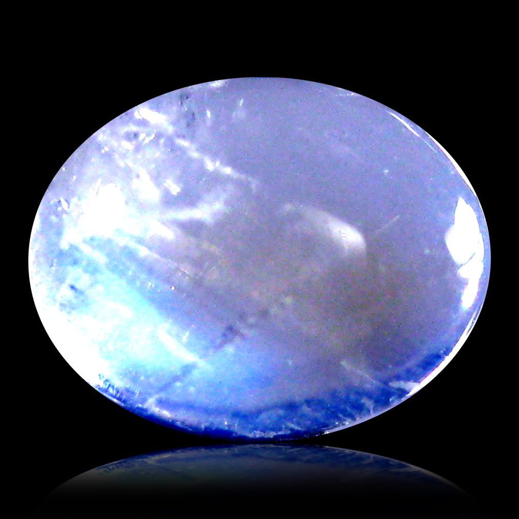 1.31 ct AAA Pleasant Oval Cabochon Shape (8 x 6 mm) Rainbow Blue Moonstone Natural Gemstone