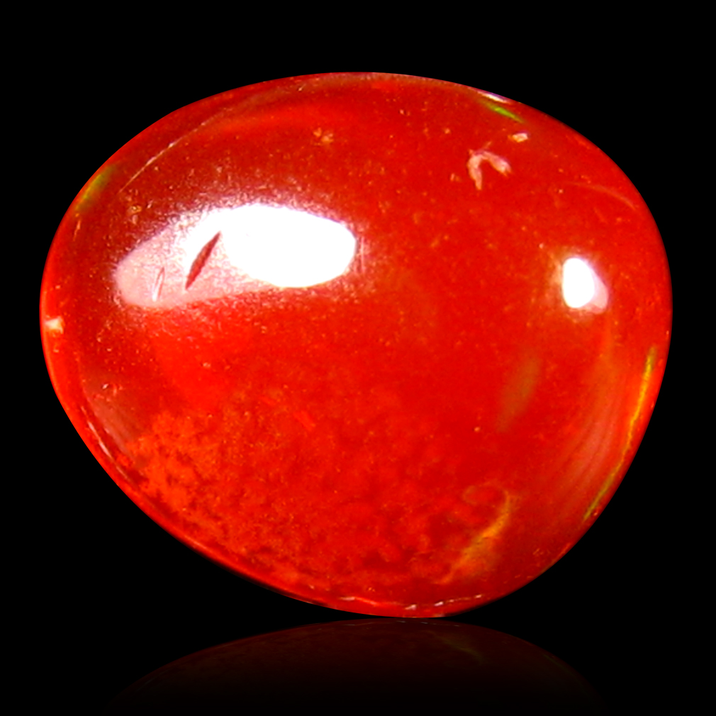 1.05 ct Phenomenal Fancy Cabochon Cut (8 x 7 mm) Flashing 360 Degree Multicolor Red Fire Opal