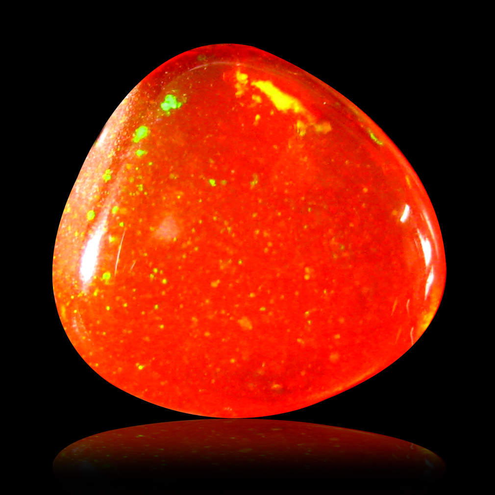 0.84 ct AAA Dazzling Fancy Cabochon Shape (8 x 7 mm) Natural Red Fire Opal Loose Stone