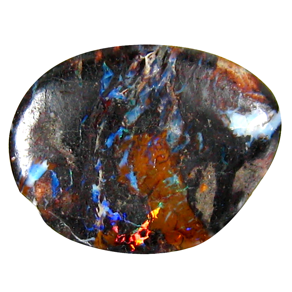 3.44 ct Incomparable Fancy Cabochon Shape (14 x 11 mm) Play of Colors Australian Koroit Boulder Opal Natural Loose Gemstone