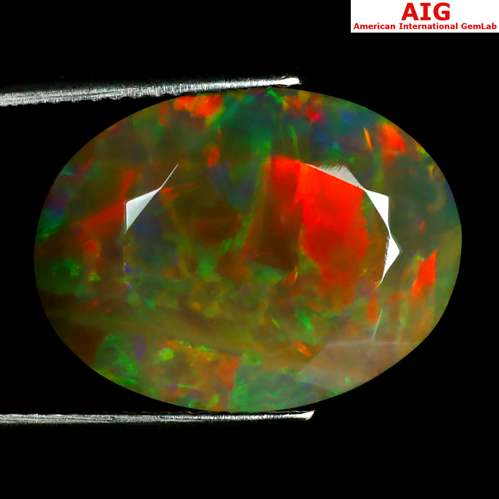 8.69 ct AIG CERTIFIED MESMERIZING OVAL SHAPE (18 X 14 MM) NATURAL RAINBOW OPAL LOOSE GEMSTONE
