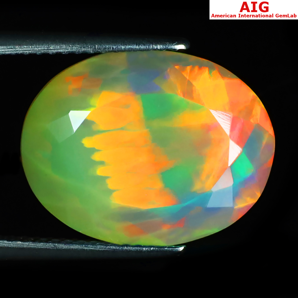 7.61 ct AIG CERTIFIED AMAZING OVAL SHAPE (17 X 13 MM) NATURAL RAINBOW OPAL LOOSE GEMSTONE