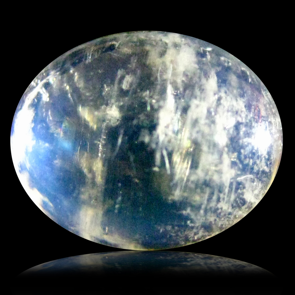 3.25 ct AAA Grand looking Oval Cabochon Shape (10 x 8 mm) Rainbow Blue Moonstone Natural Gemstone