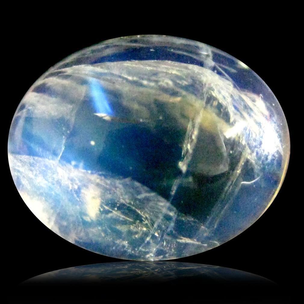 3.08 ct AAA Wonderful Oval Cabochon Shape (10 x 8 mm) Rainbow Blue Moonstone Natural Gemstone