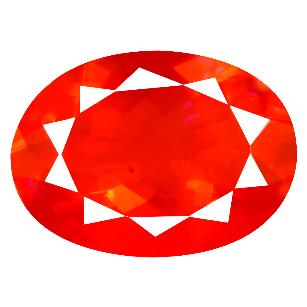 3.51 ct Superb Oval Cut (14 x 10 mm) Mexico Orange Red Fire Opal Natural Gemstone