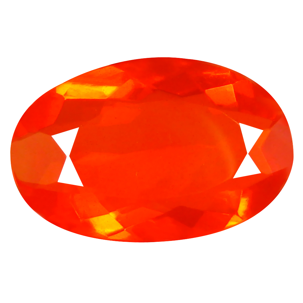 4.52 ct Fantastic Oval Cut (17 x 11 mm) Mexico Orange Red Fire Opal Natural Gemstone
