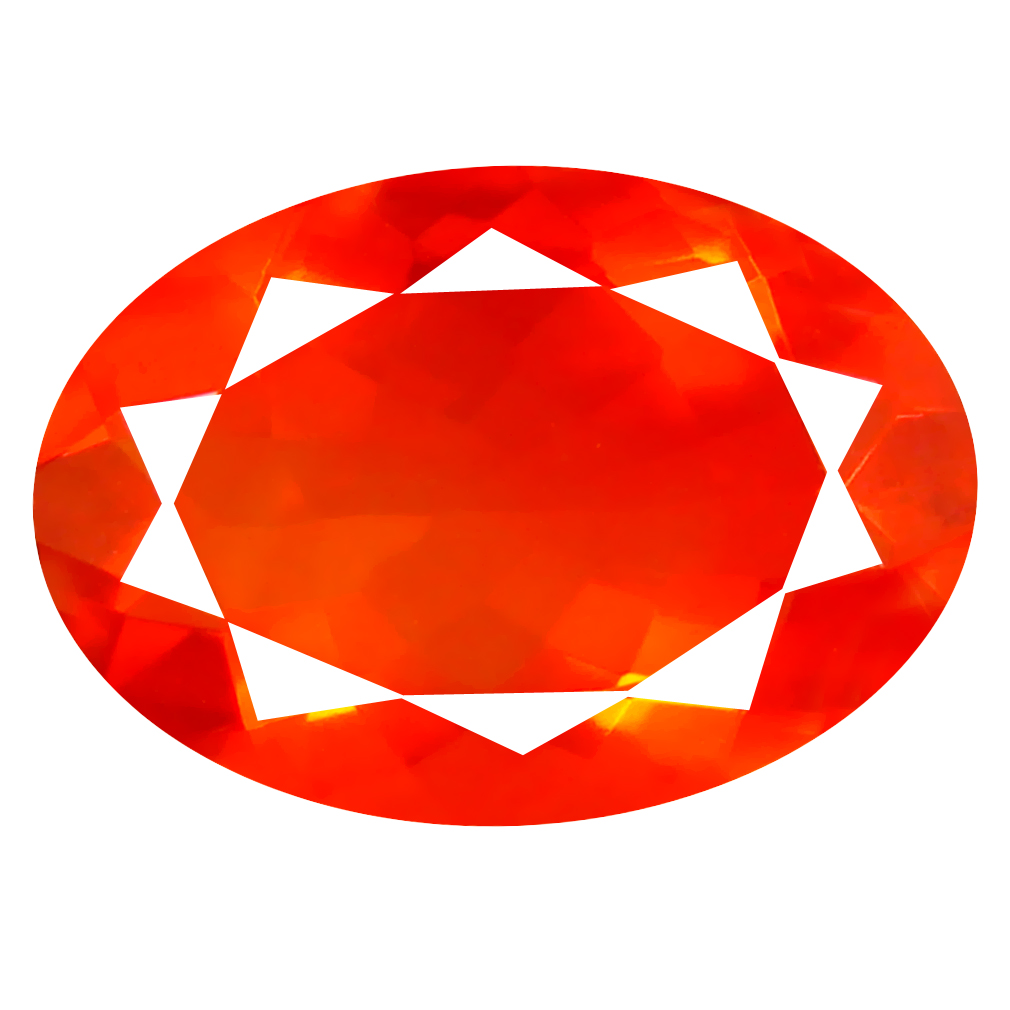 3.29 ct World class Oval Cut (14 x 10 mm) Mexico Orange Red Fire Opal Natural Gemstone