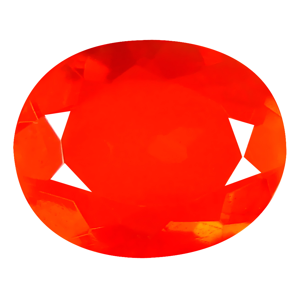 2.76 ct Incomparable Oval Cut (14 x 11 mm) Mexico Orange Red Fire Opal Natural Gemstone