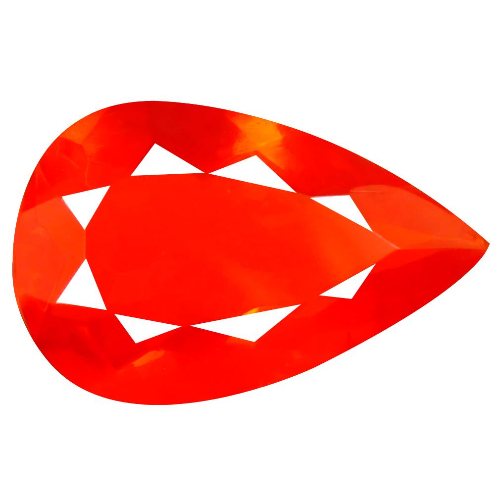 3.89 ct World class Pear Cut (17 x 11 mm) Mexico Orange Red Fire Opal Natural Gemstone