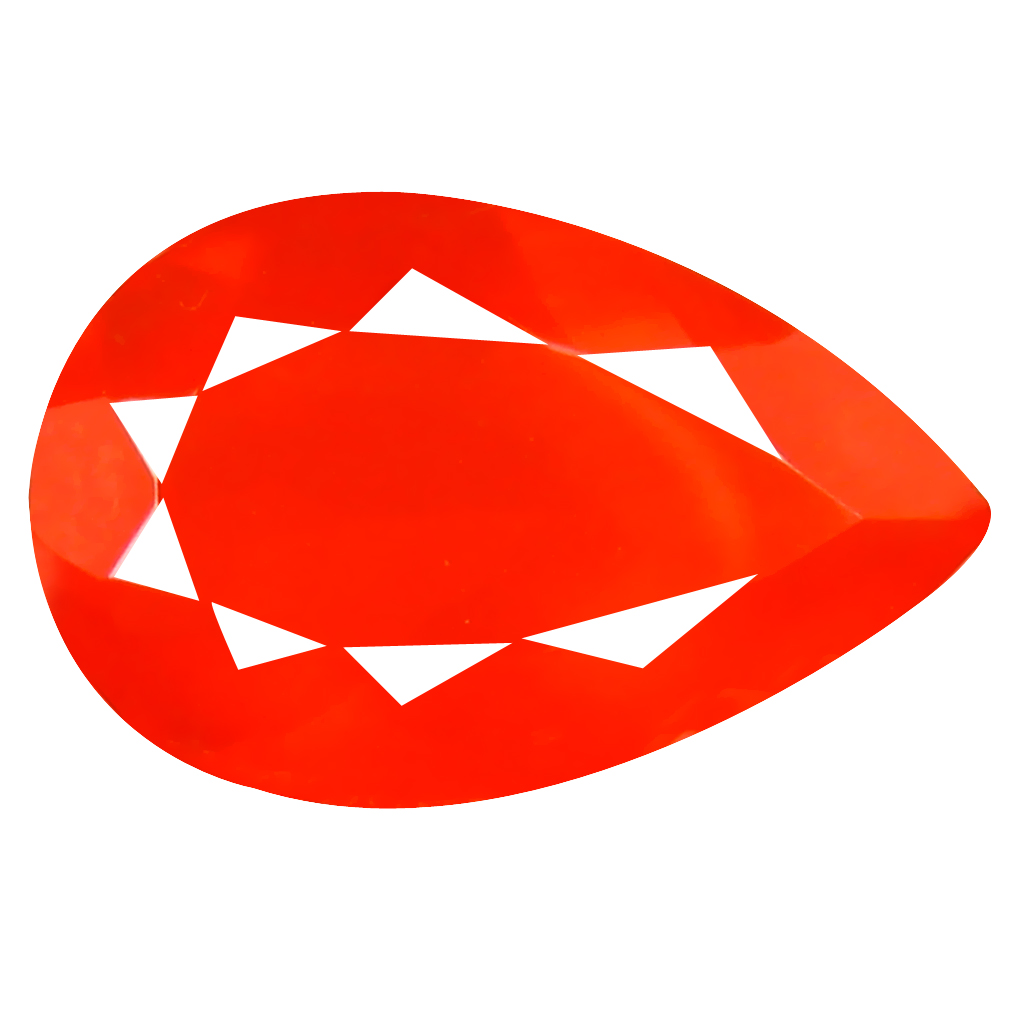 2.93 ct Grand looking Pear Cut (16 x 10 mm) Mexico Orange Red Fire Opal Natural Gemstone