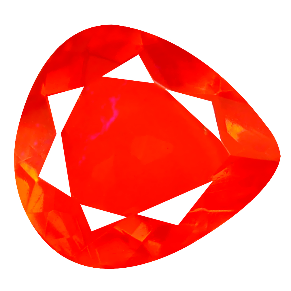 2.88 ct Topnotch Pear Cut (14 x 12 mm) Mexico Orange Red Fire Opal Natural Gemstone