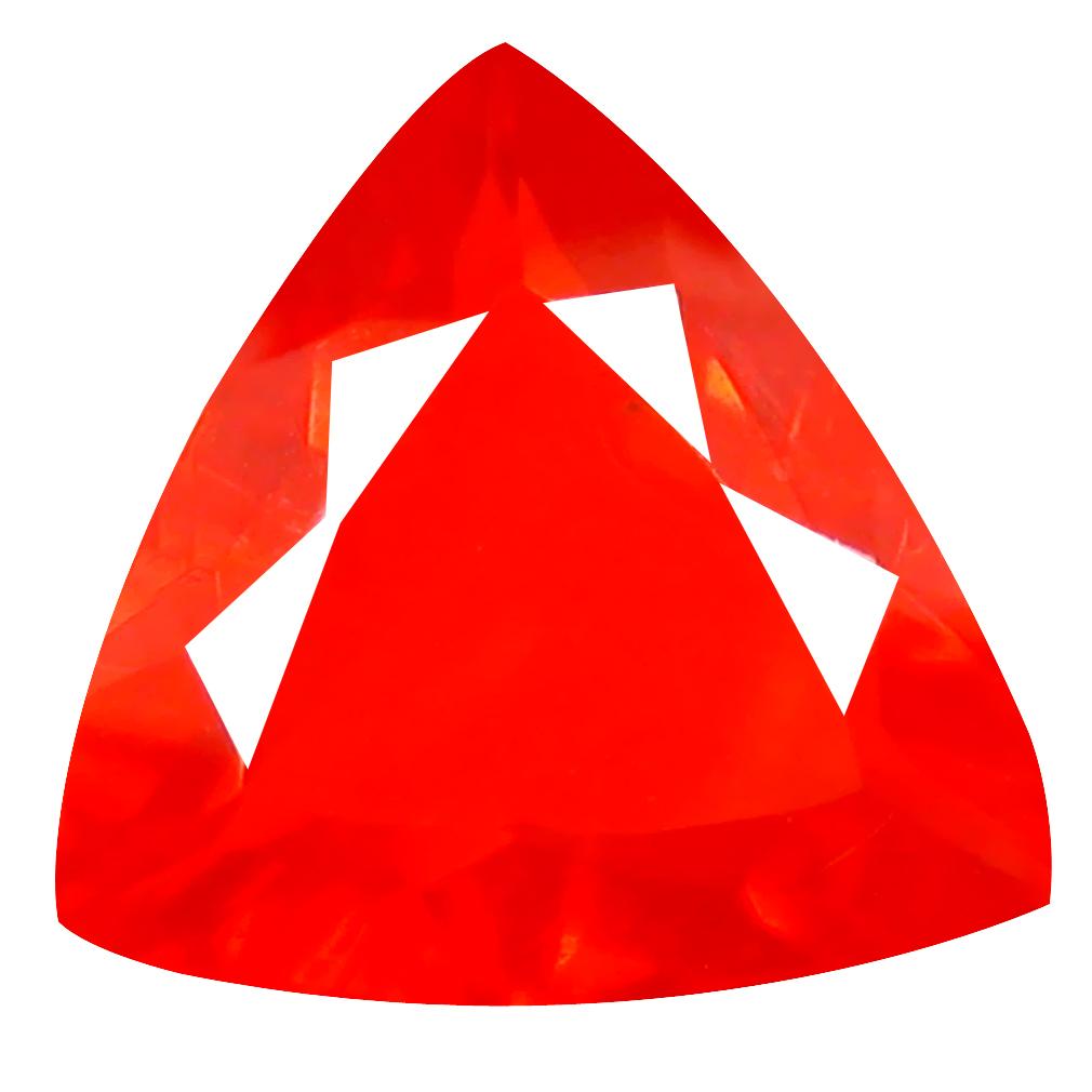 2.74 ct Pleasant Trillion Cut (13 x 13 mm) Mexico Orange Red Fire Opal Natural Gemstone