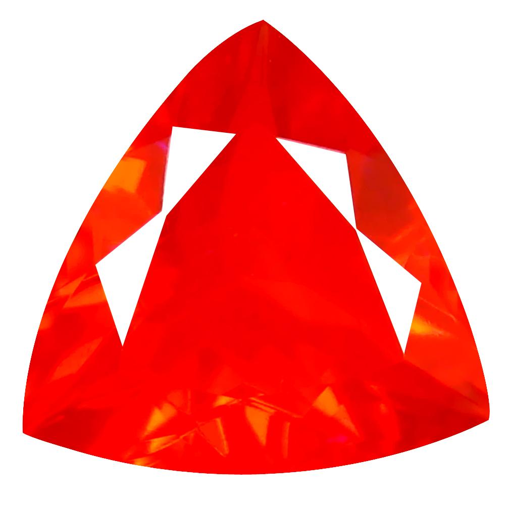 2.31 ct Unbelievable Trillion Cut (12 x 11 mm) Mexico Orange Red Fire Opal Natural Gemstone