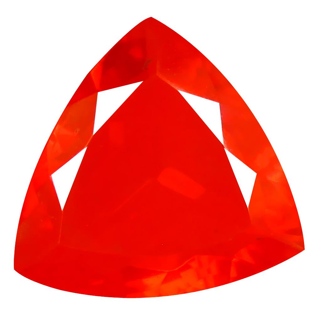 2.85 ct Pretty Trillion Cut (14 x 13 mm) Mexico Orange Red Fire Opal Natural Gemstone