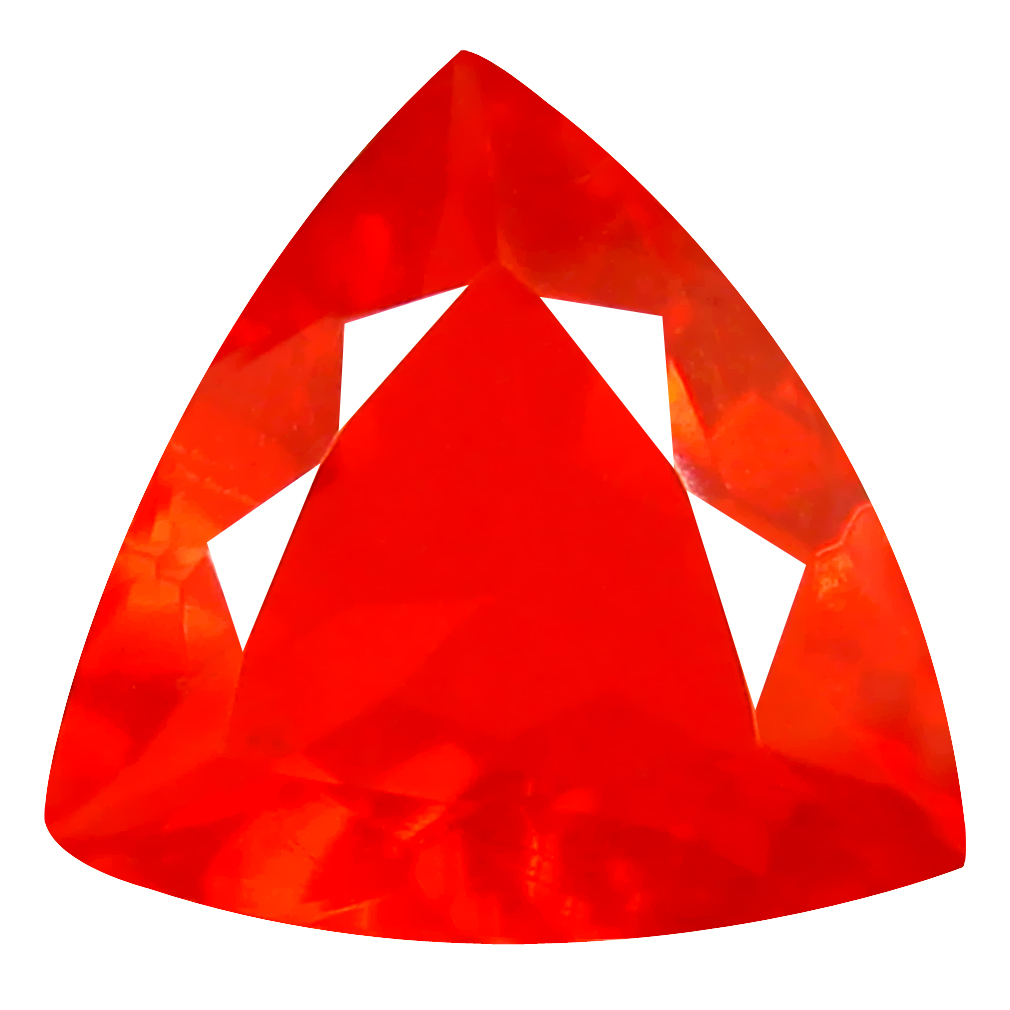 2.27 ct Remarkable Trillion Cut (11 x 11 mm) Mexico Orange Red Fire Opal Natural Gemstone