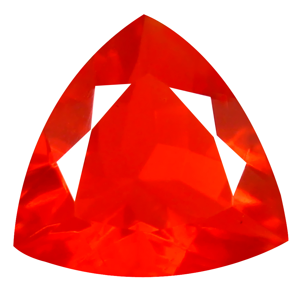 1.95 ct Incomparable Trillion Cut (11 x 11 mm) Mexico Orange Red Fire Opal Natural Gemstone