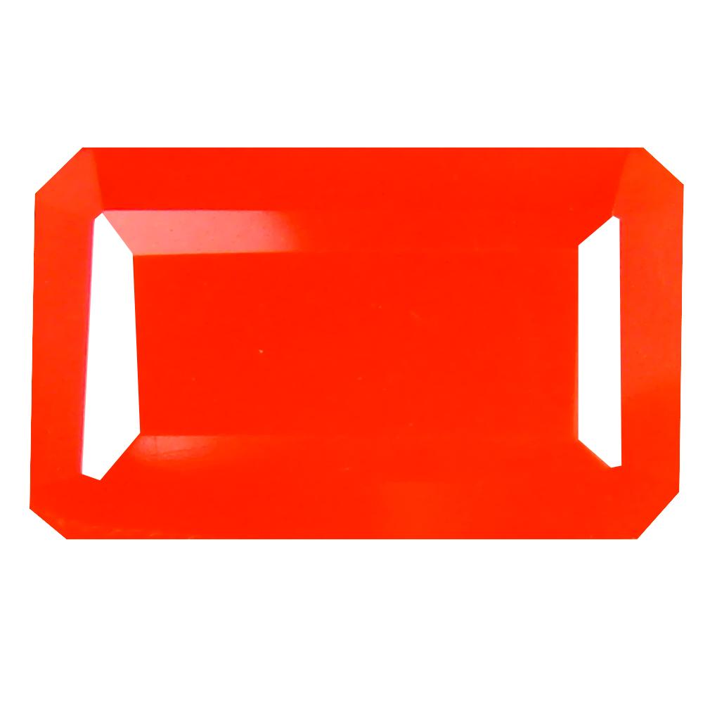 2.81 ct Elegant Emerald Cut (14 x 8 mm) Mexico Orange Red Fire Opal Natural Gemstone