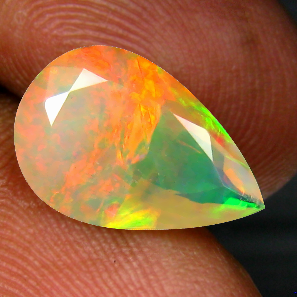 2.38 ct Magnificent fire Pear (13 x 9 mm) Un-Heated Ethiopia Rainbow Opal Loose Gemstone