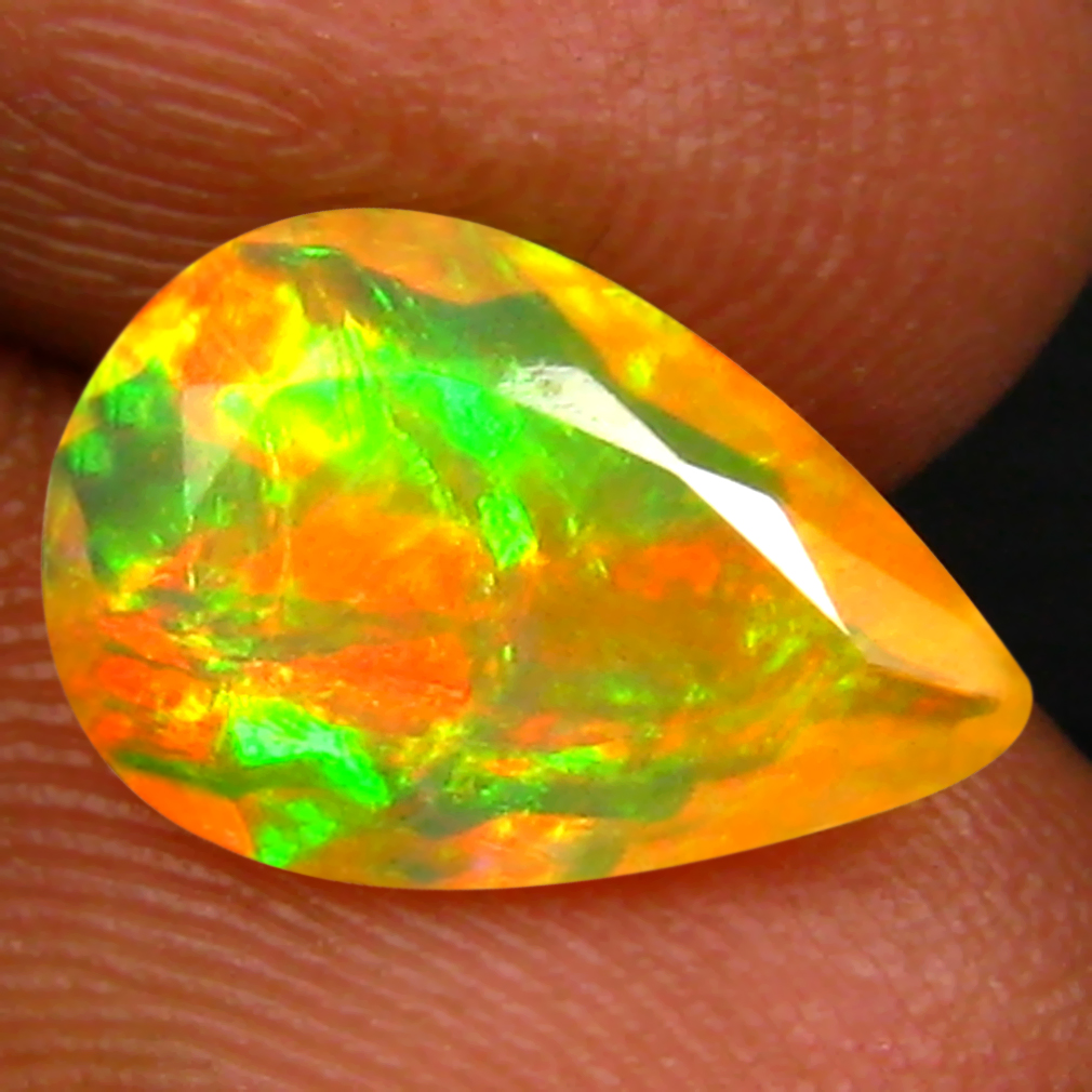 1.57 ct Charming Pear (12 x 8 mm) Un-Heated Ethiopia Rainbow Opal Loose Gemstone