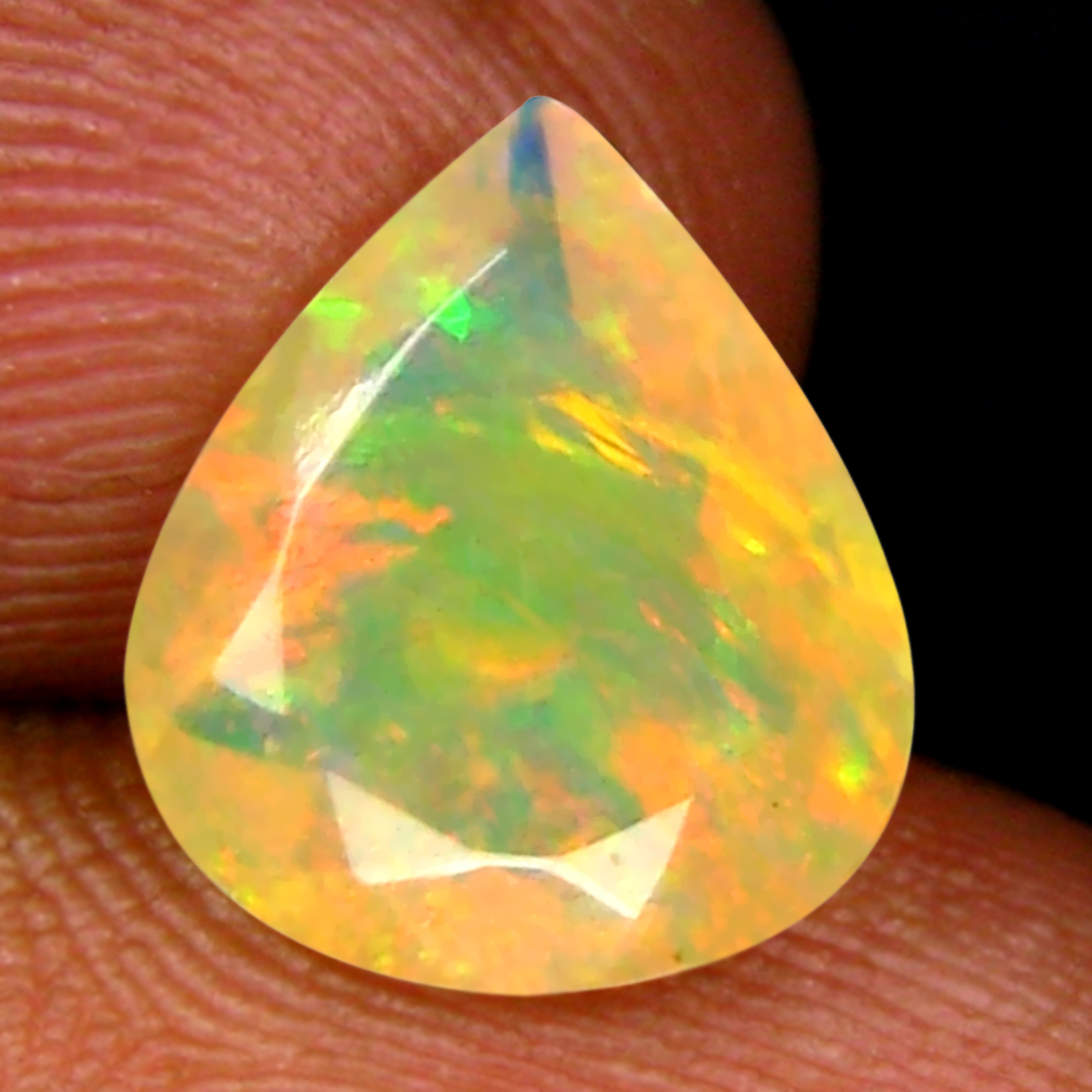 1.80 ct Resplendent Pear (11 x 9 mm) Un-Heated Ethiopia Rainbow Opal Loose Gemstone