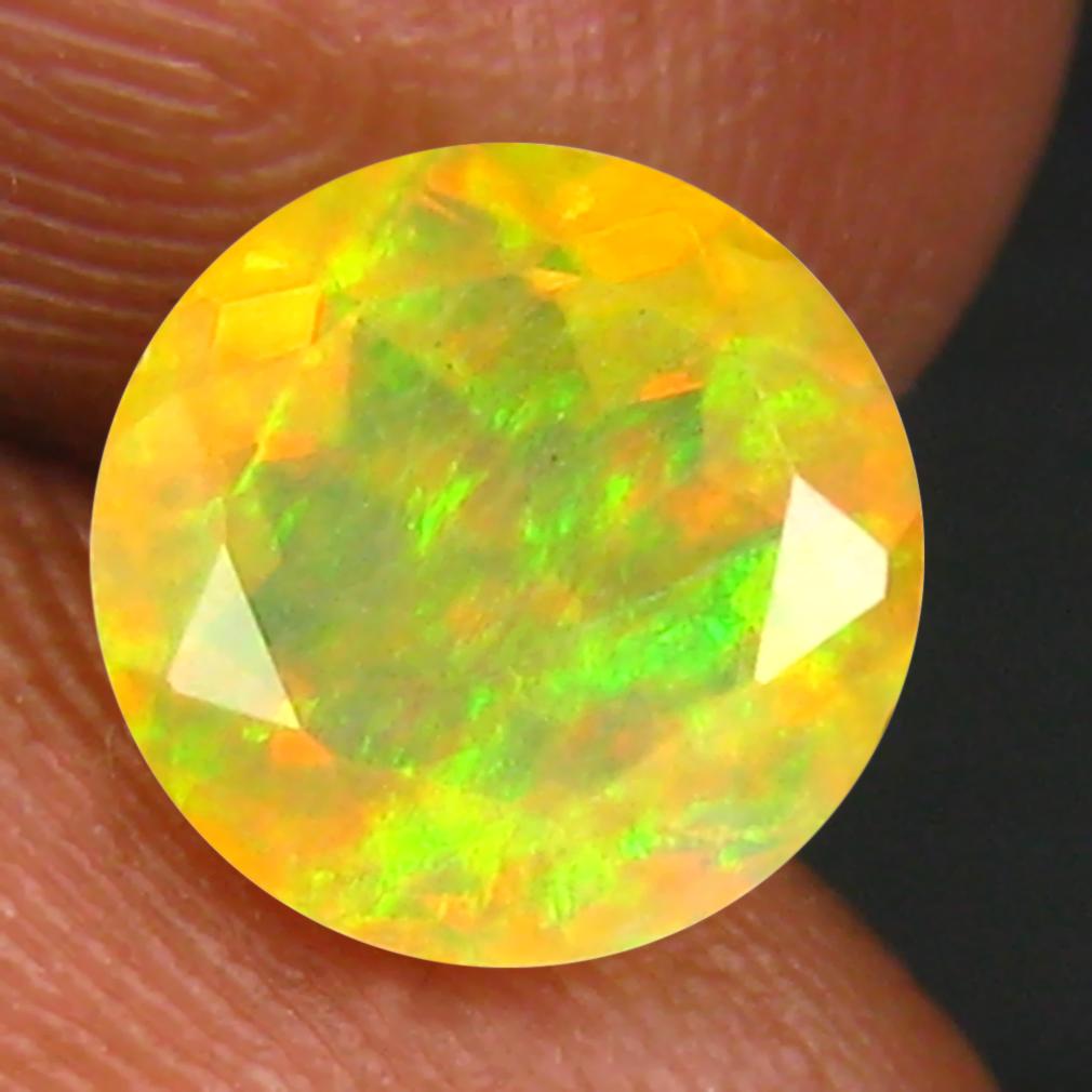 1.32 ct Superior Round (8 x 8 mm) Un-Heated Ethiopia Rainbow Opal Loose Gemstone