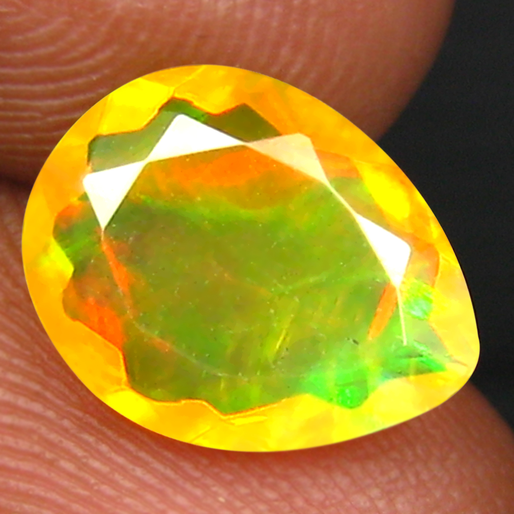 1.60 ct Romantic Pear (11 x 9 mm) Un-Heated Ethiopia Rainbow Opal Loose Gemstone