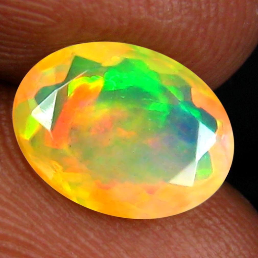 1.38 ct Eye-popping Oval (10 x 7 mm) Un-Heated Ethiopia Rainbow Opal Loose Gemstone