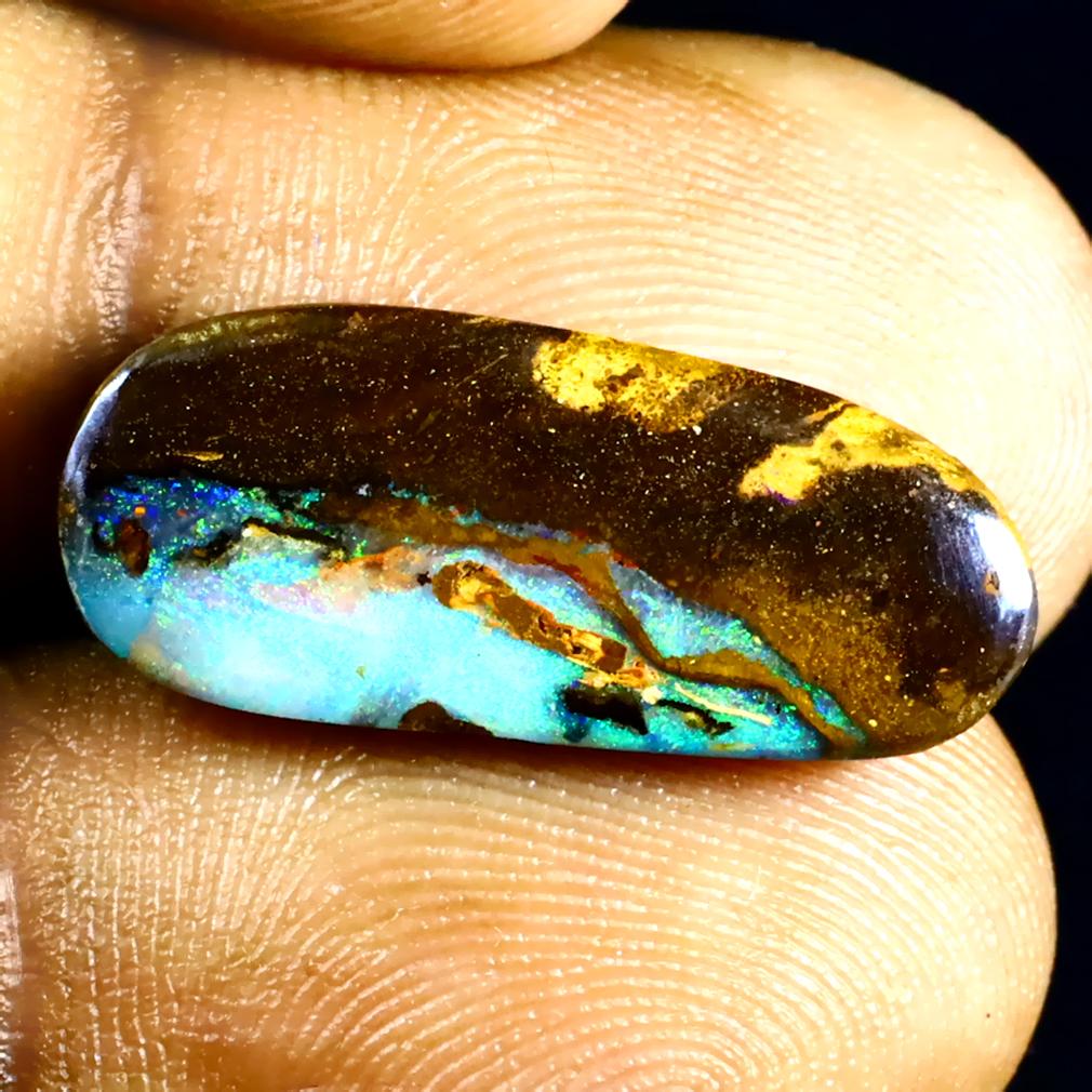 7.48 ct Significant Fancy Shape (21 x 9 mm) Multi Color Australian Koroit Boulder Opal Natural Loose Gemstone