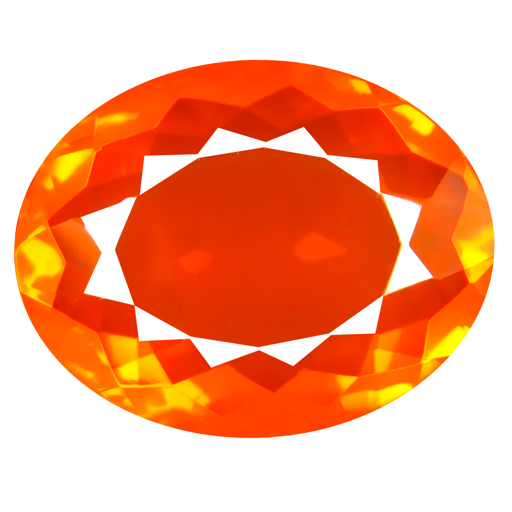 8.38 ct Magnificent Oval Cut (19 x 15 mm) Mexico Orange Red Fire Opal Natural Gemstone
