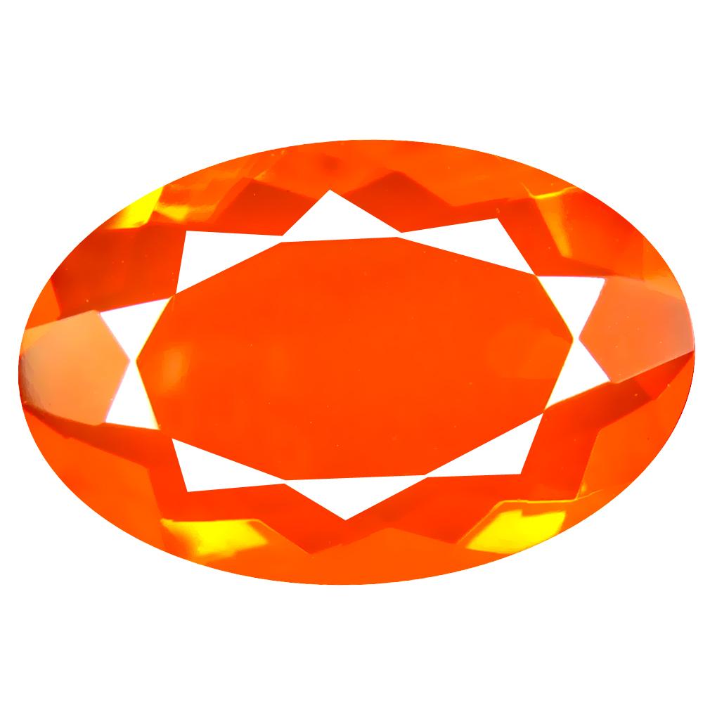 6.81 ct Fair Oval Cut (20 x 13 mm) Mexico Orange Red Fire Opal Natural Gemstone