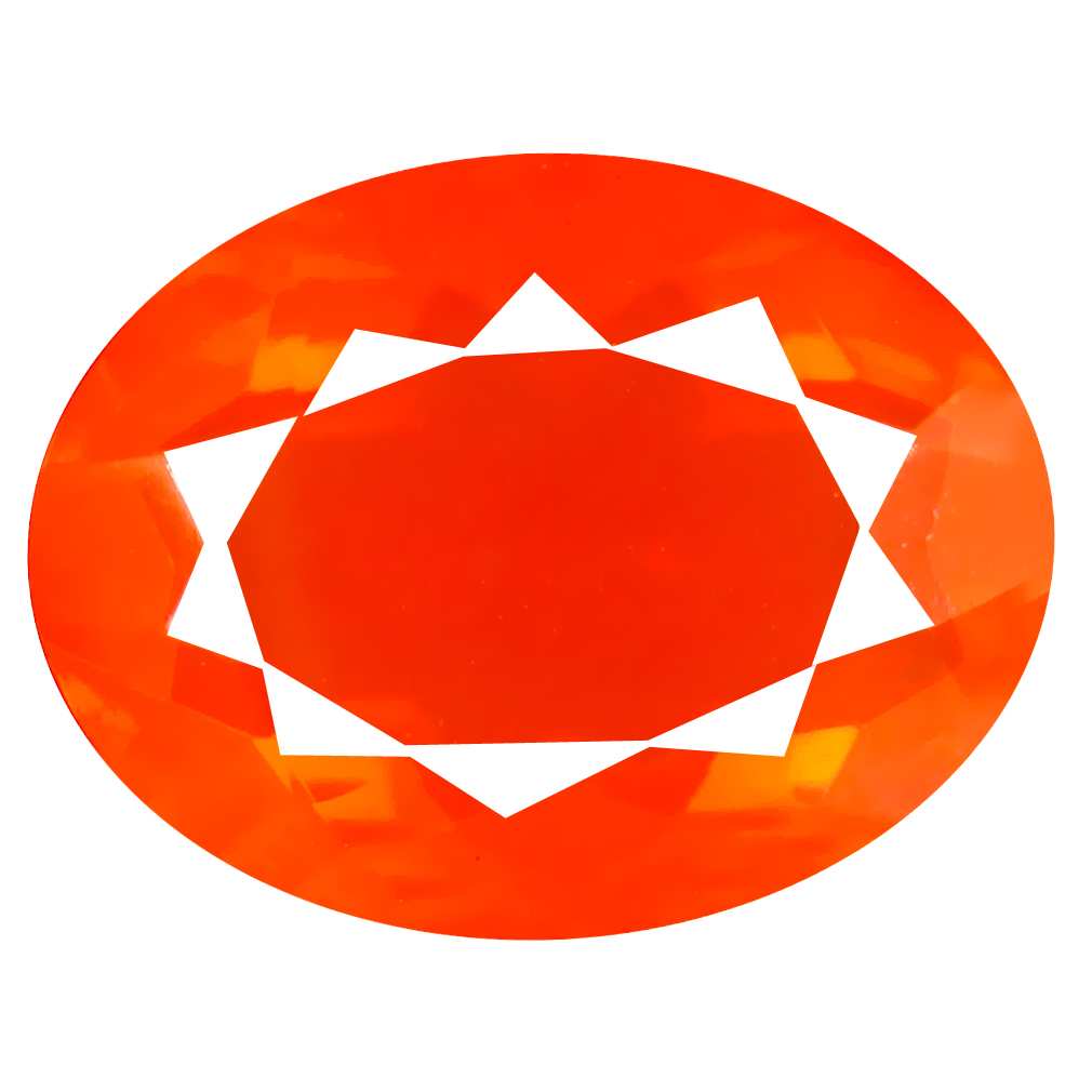 3.91 ct Superior Oval Cut (14 x 11 mm) Mexico Orange Red Fire Opal Natural Gemstone