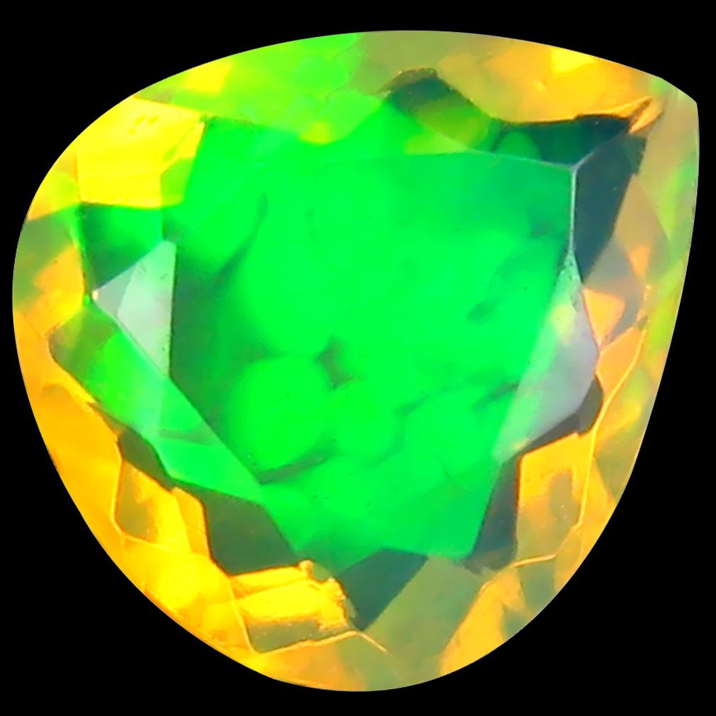 1.85 ct Five-star Pear (10 x 9 mm) Un-Heated Ethiopia Rainbow Opal Loose Gemstone