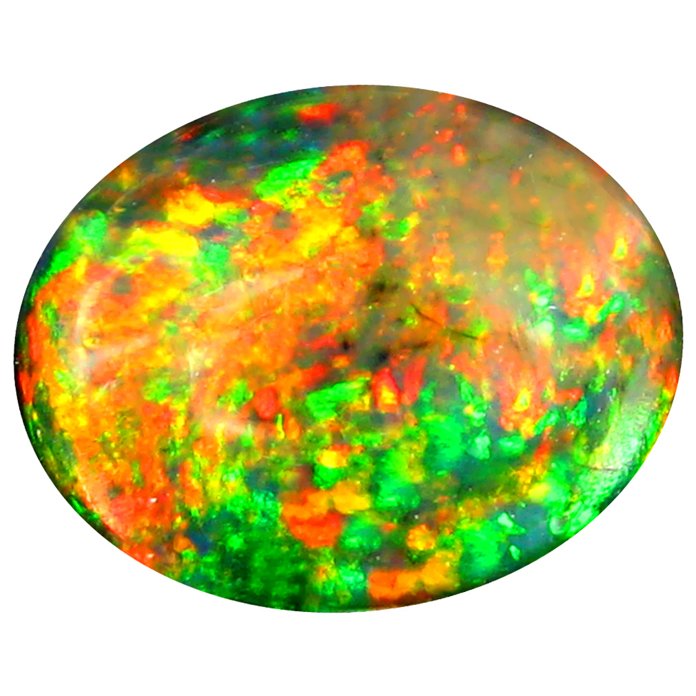 3.50 ct First-class Oval Cabochon Cut (13 x 10 mm) Ethiopia Play of Colors Black Opal Natural Gemstone