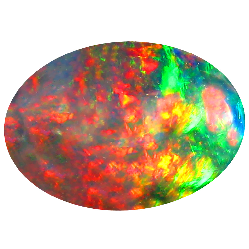 3.47 ct Terrific Oval Cabochon Cut (14 x 10 mm) Ethiopia Play of Colors Black Opal Natural Gemstone