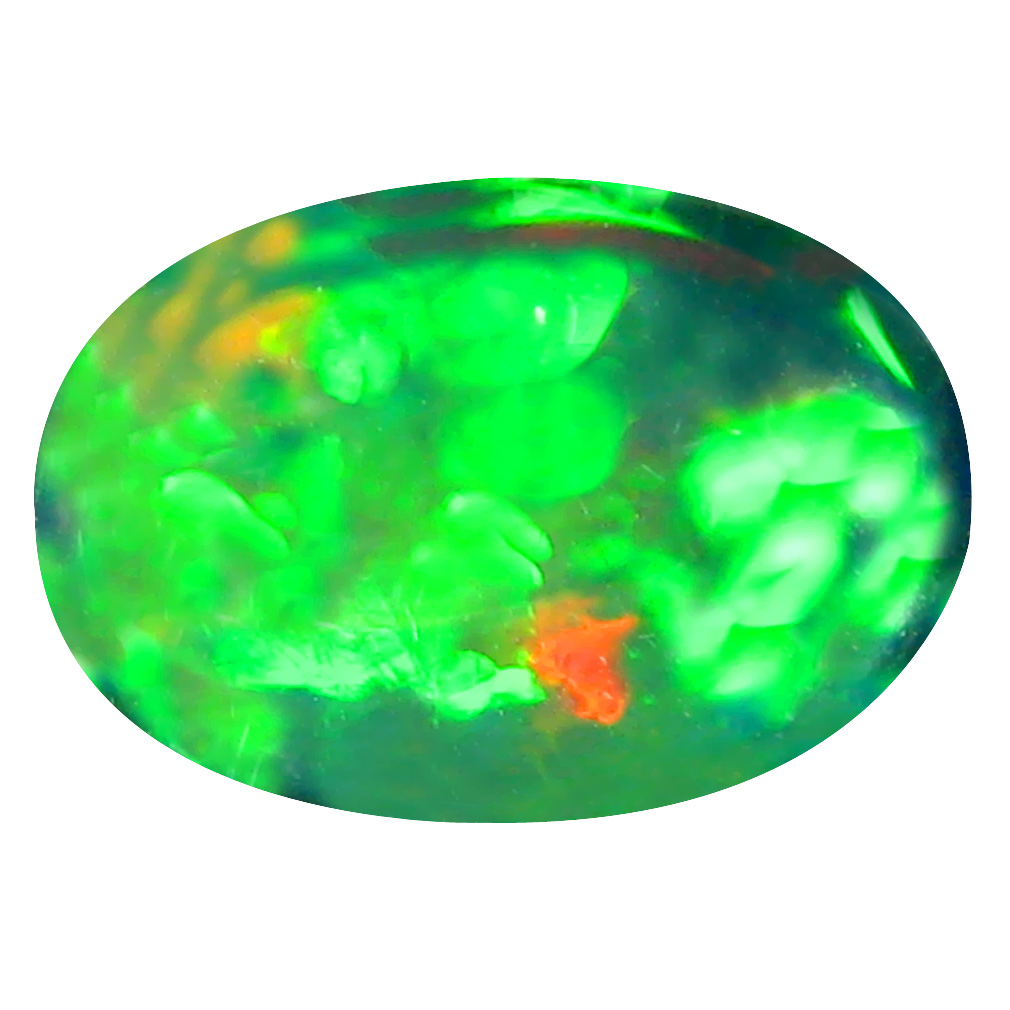 3.48 ct Fabulous Oval Cabochon Cut (13 x 9 mm) Ethiopia Play of Colors Black Opal Natural Gemstone