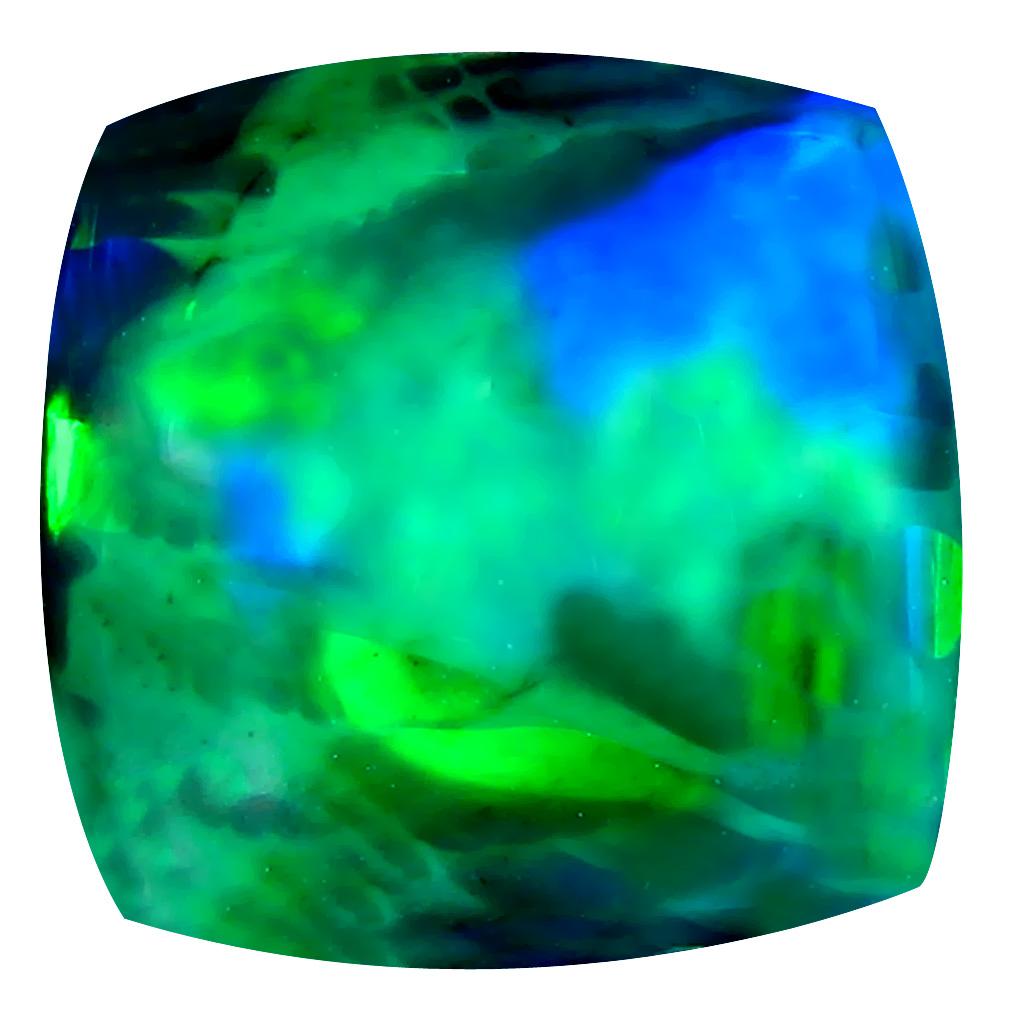 4.23 ct Beautiful Cushion Cabochon Cut (12 x 12 mm) Ethiopia Play of Colors Black Opal Natural Gemstone