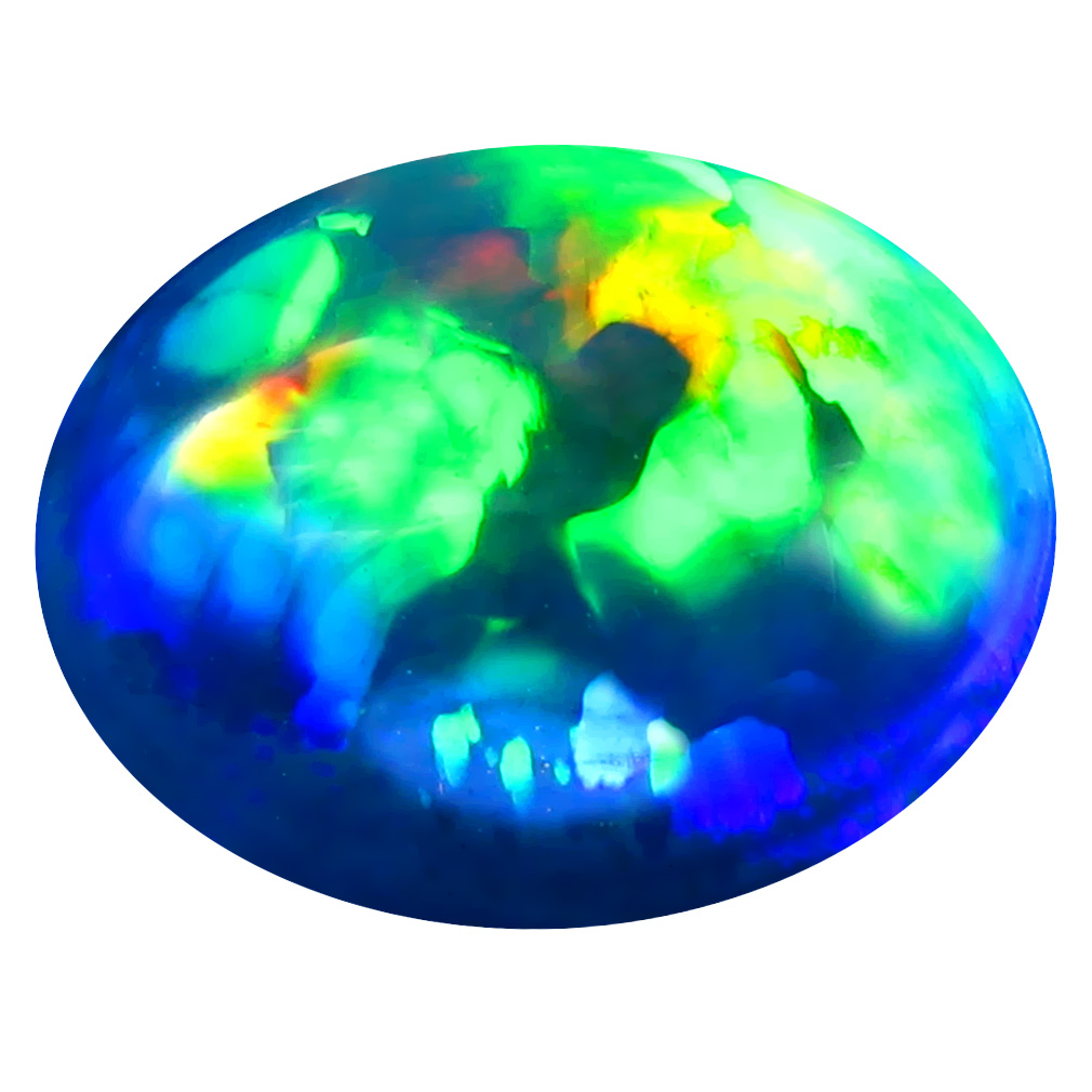 4.30 ct Elegant Oval Cabochon Cut (15 x 12 mm) Ethiopia Play of Colors Black Opal Natural Gemstone