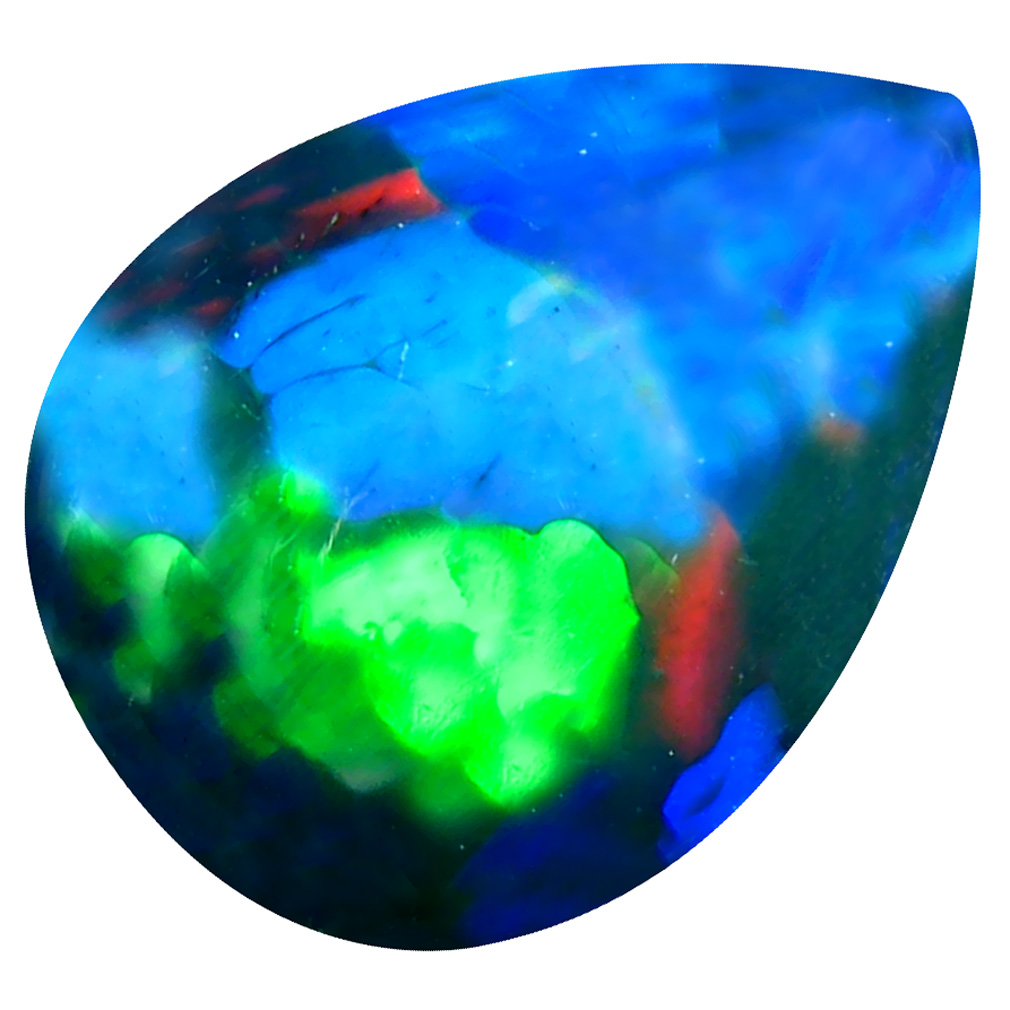 5.73 ct Exquisite Pear Cabochon Cut (16 x 12 mm) Ethiopia Play of Colors Black Opal Natural Gemstone