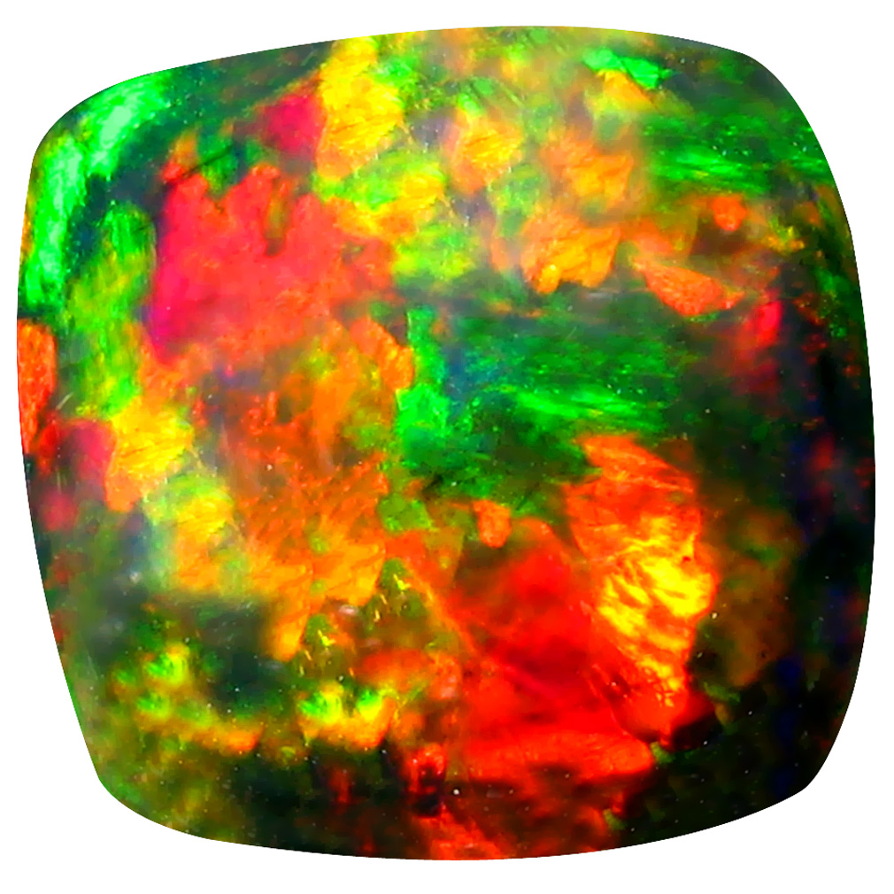 5.97 ct Significant Cushion Cabochon Cut (13 x 12 mm) Ethiopia Play of Colors Black Opal Natural Gemstone