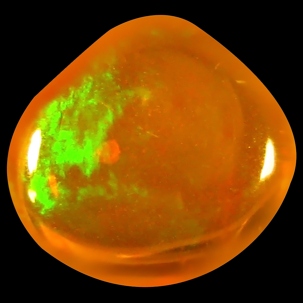 1.38 ct Elegant Fancy Cabochon (9 x 9 mm) Flashing 360 Degree Multicolor Orange Fire Opal Gemstone