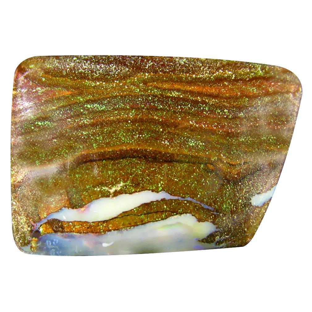 31.34 ct Magnificent Fancy Cabochon Shape (27 x 18 mm) Play of Colors Australian Koroit Boulder Opal Natural Loose Gemstone