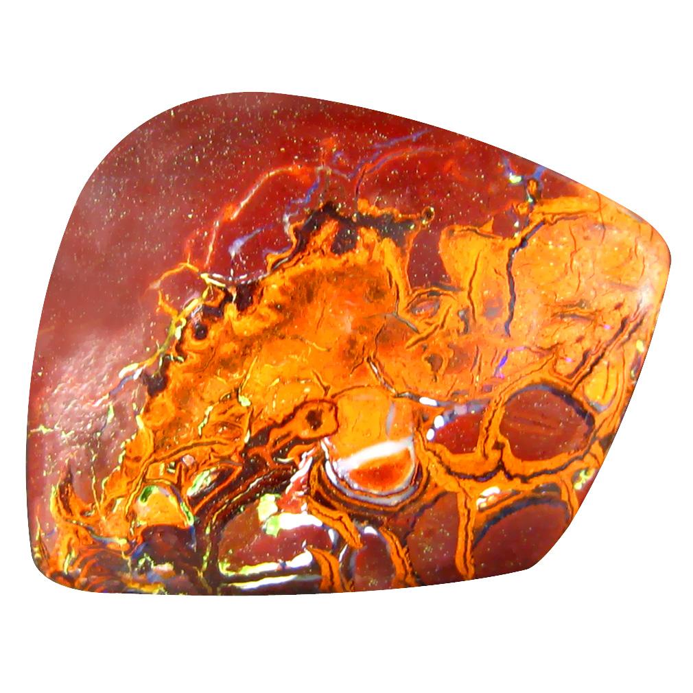 20.16 ct Magnificent fire Fancy Cabochon Shape (20 x 16 mm) Play of Colors Australian Koroit Boulder Opal Natural Loose Gemstone