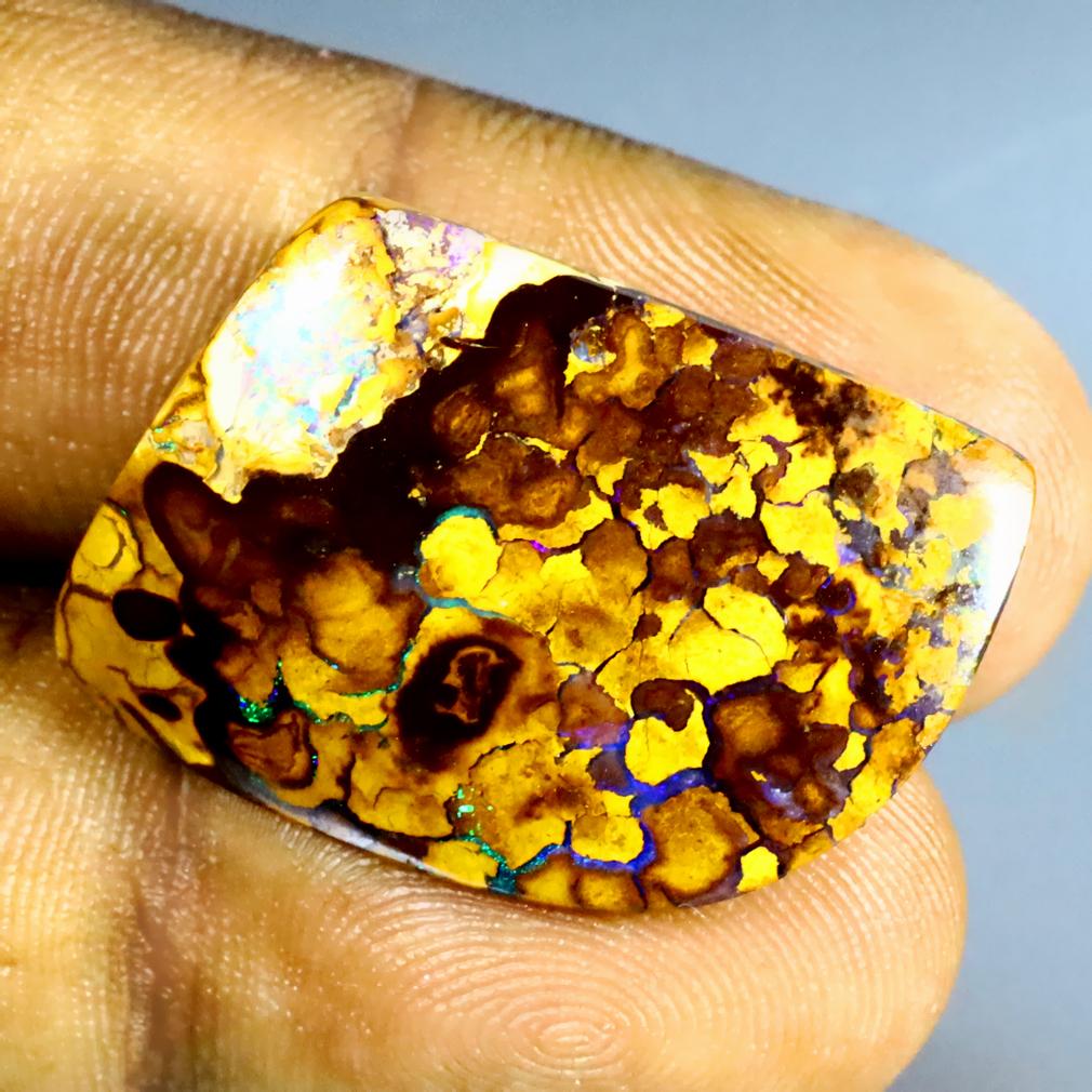 32.53 ct Excellent Fancy Shape (25 x 18 mm) Multi Color Australian Koroit Boulder Opal Natural Loose Gemstone
