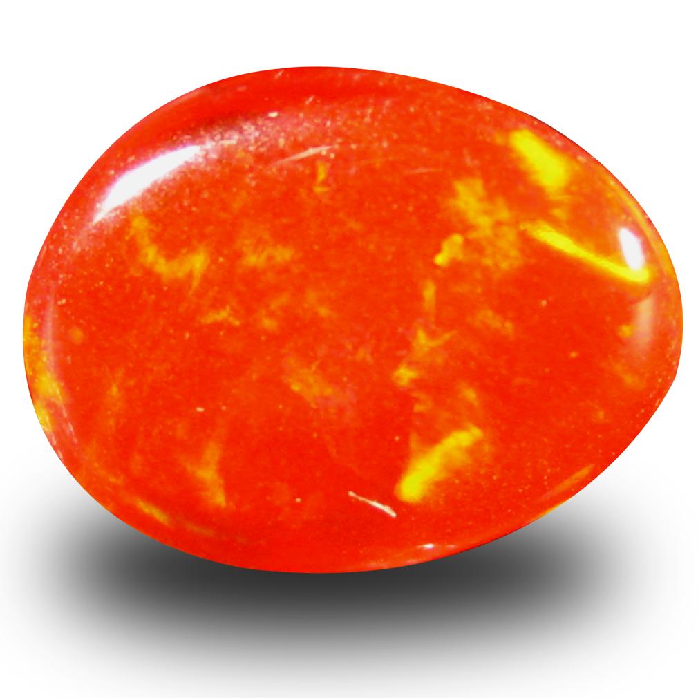 1.66 ct Beautiful Fancy Cabochon (10 x 8 mm) Flashing 360 Degree Multicolor Red Fire Opal Gemstone